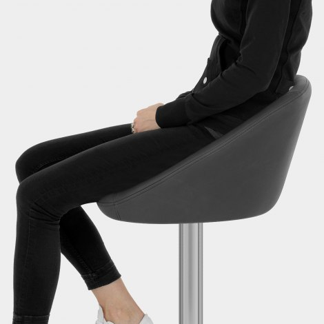 Decco Brushed Bar Stool Charcoal Seat Image