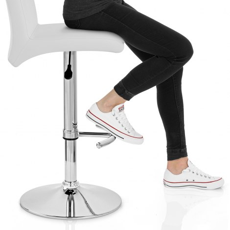 Deluxe High Back Stool White Seat Image