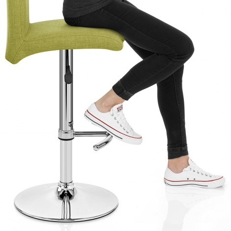 Deluxe High Back Stool Green Fabric Seat Image