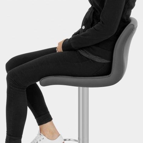 Deluxe Paradis Leather Brushed Stool Grey Seat Image