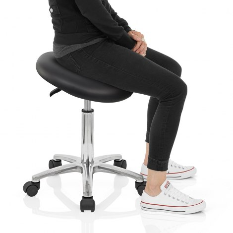 Deluxe Saddle Stool Black Seat Image