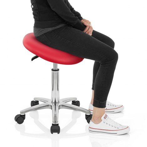 Deluxe Saddle Stool Red Seat Image