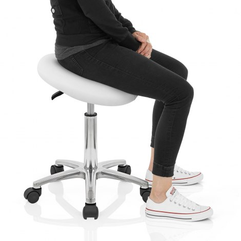 Deluxe Saddle Stool White Seat Image