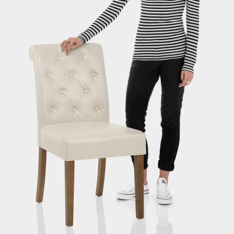 Denver Oak Dining Chair Cream Leather Features Image
