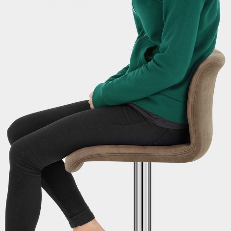 Destiny Stool Brown Suede Seat Image