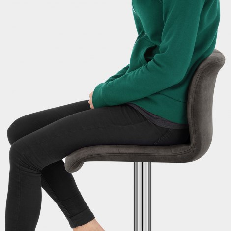 Destiny Stool Charcoal Suede Seat Image