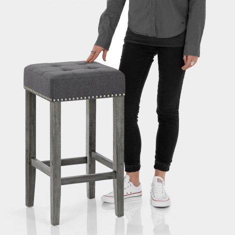 Dove Bar Stool Charcoal Fabric Features Image