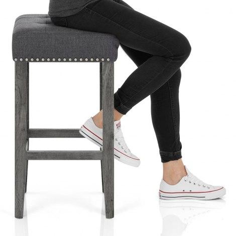 Dove Bar Stool Charcoal Fabric Seat Image