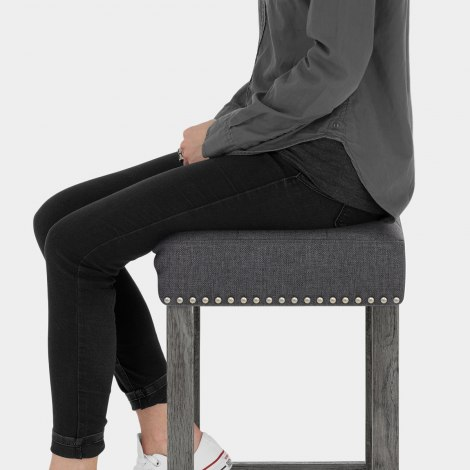 Dove Bar Stool Charcoal Fabric Seat Image