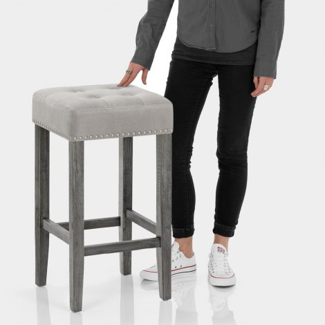 Dove Bar Stool Grey Velvet Features Image