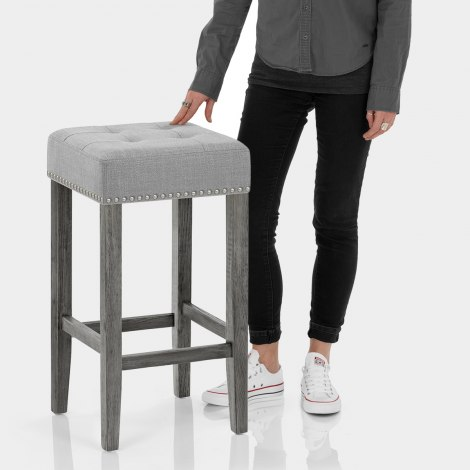 Dove Bar Stool Light Grey Fabric Features Image
