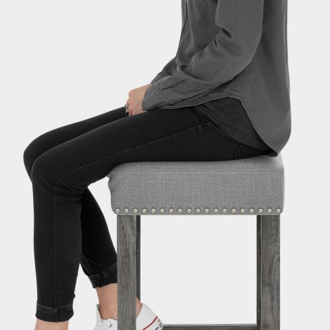 Dove Bar Stool Light Grey Fabric Seat Image