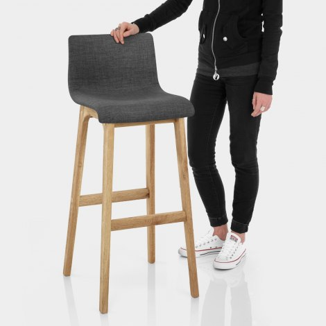 Drift Oak & Charcoal Fabric Stool Features Image