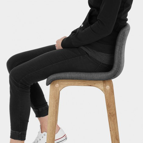 Drift Oak & Charcoal Fabric Stool Seat Image