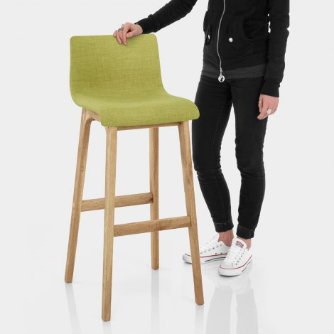 Drift Oak & Green Fabric Stool Features Image