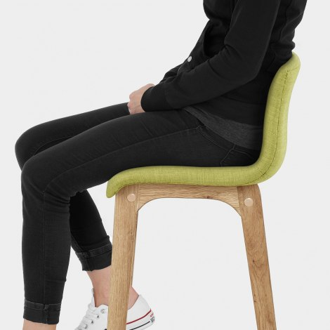 Drift Oak & Green Fabric Stool Seat Image