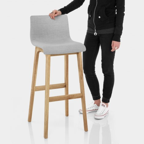 Drift Oak & Light Grey Fabric Stool Features Image