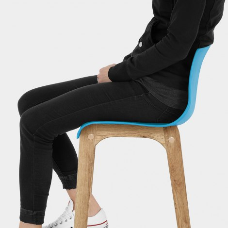 Drift Oak & Blue Bar Stool Seat Image