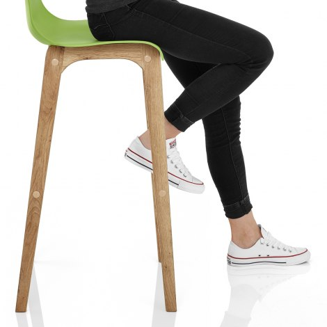 Drift Oak & Green Bar Stool Seat Image
