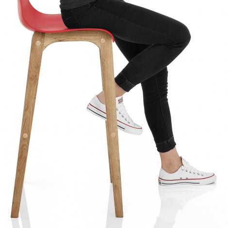 Drift Oak & Red Bar Stool Seat Image