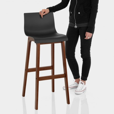 Drift Walnut & Black Bar Stool Features Image
