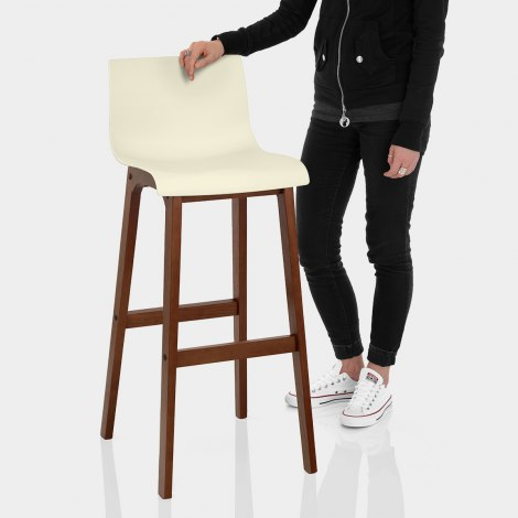 Drift Walnut & Cream Bar Stool Features Image