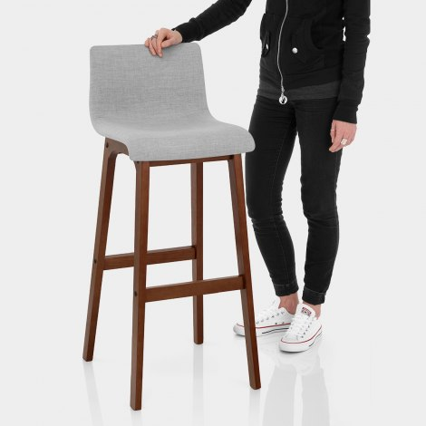 Drift Walnut & Light Grey Fabric Stool Features Image