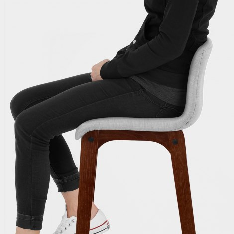 Drift Walnut & Light Grey Fabric Stool Seat Image