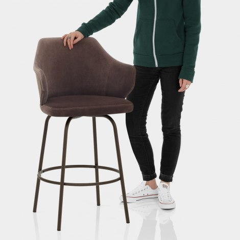 Duke Bar Stool Brown Velvet Features Image