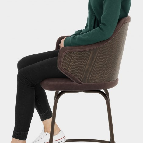 Duke Bar Stool Brown Velvet Seat Image