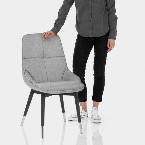 Dynasty Dining Chair Grey Fabric Features Image