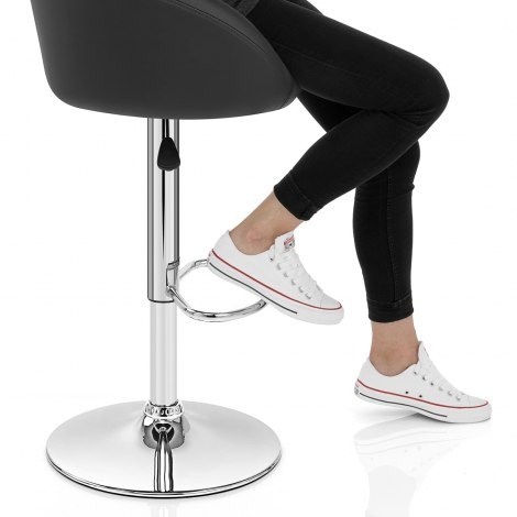 Black Faux Leather Eclipse Bar Stool Seat Image