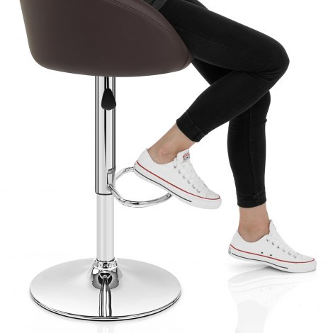 Brown Faux Leather Eclipse Bar Stool Seat Image