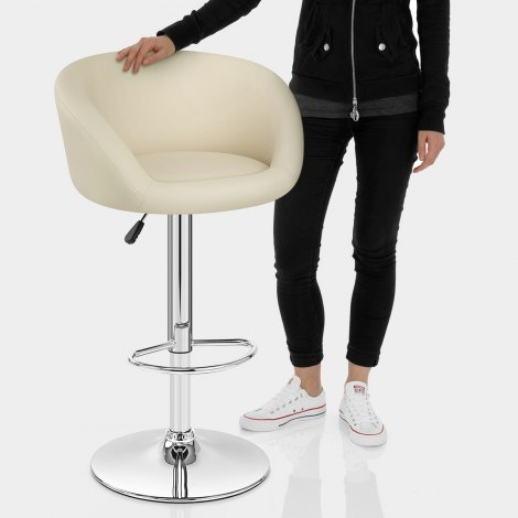 Cream Faux Leather Eclipse Bar Stool Features Image
