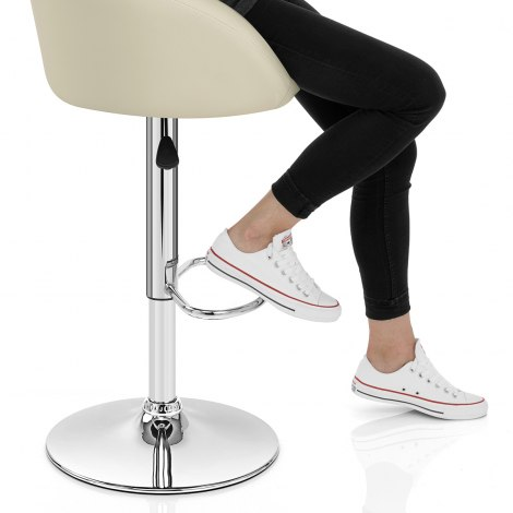 Cream Faux Leather Eclipse Bar Stool Seat Image