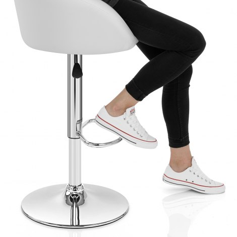 White Faux Leather Eclipse Bar Stool Seat Image