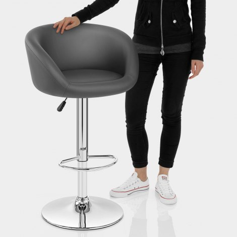 Grey Faux Leather Eclipse Bar Stool Features Image