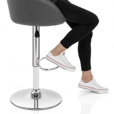 Grey Faux Leather Eclipse Bar Stool Frame Image