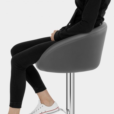 Grey Faux Leather Eclipse Bar Stool Seat Image
