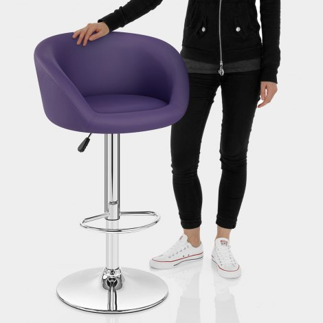 Purple Faux Leather Eclipse Bar Stool Features Image