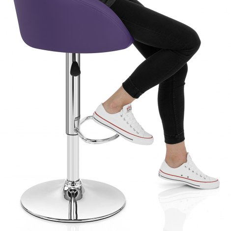 Purple Faux Leather Eclipse Bar Stool Seat Image