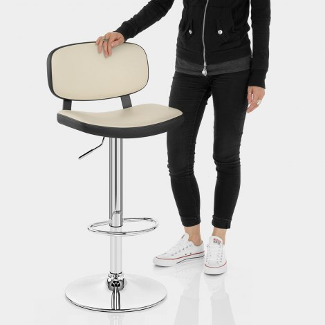 Edge Bar Stool Black & Cream Features Image
