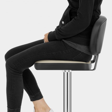 Edge Bar Stool Black & Cream Seat Image