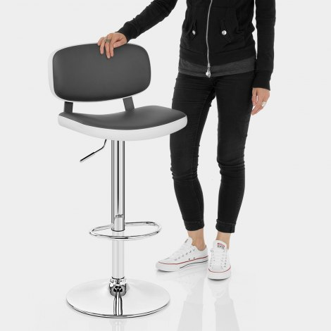 Edge Bar Stool White & Grey Features Image