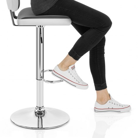 Edge Bar Stool White & Grey Seat Image