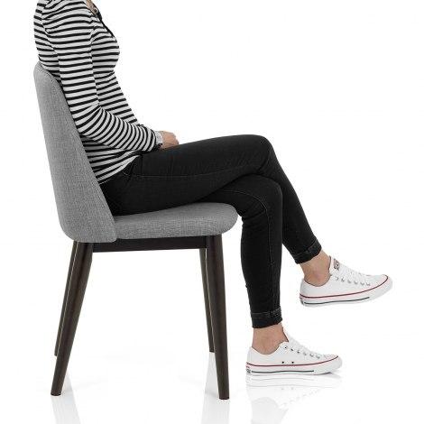 Elwood Walnut Dining Chair Grey Fabric Frame Image