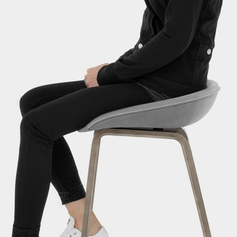 Epic Wooden Stool Grey Velvet Seat Image