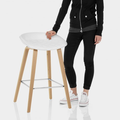 Epic Wooden Stool White Leather Features Image
