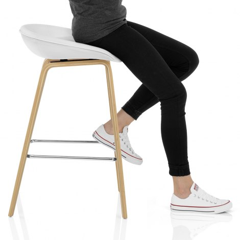 Epic Wooden Stool White Leather Frame Image