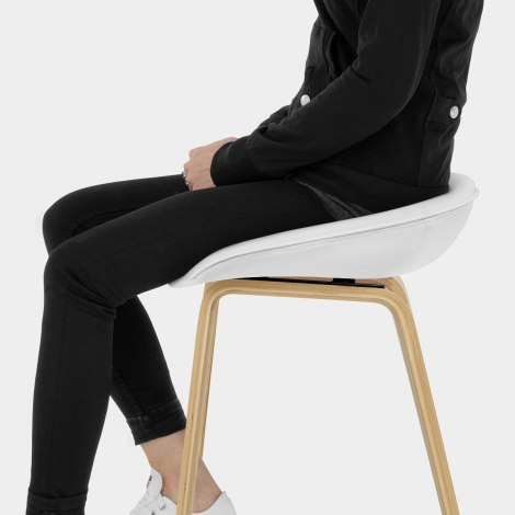 Epic Wooden Stool White Leather Seat Image